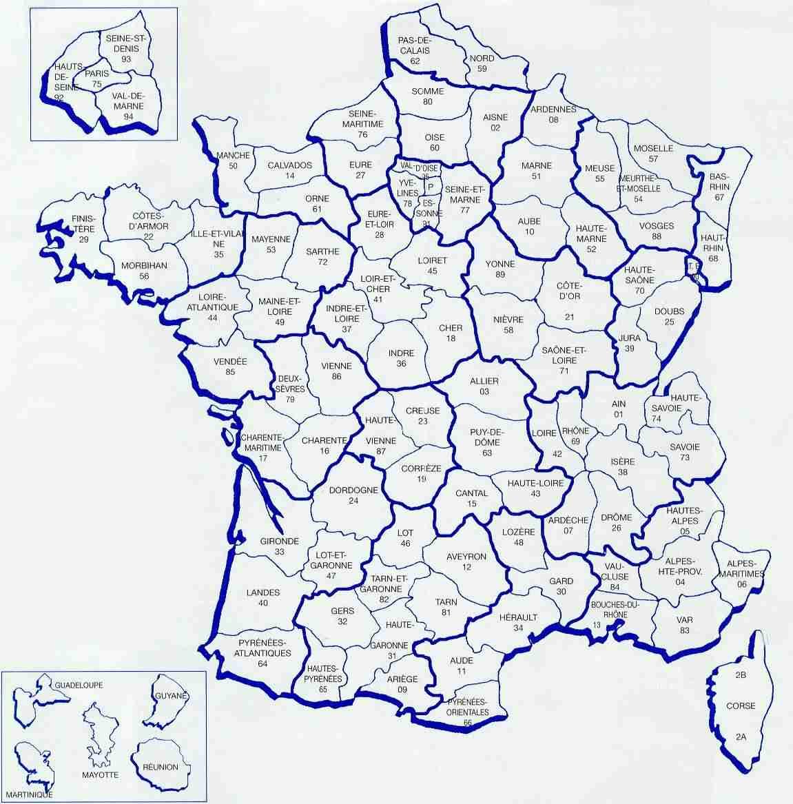 Frankrijk Departementen Kaart Map